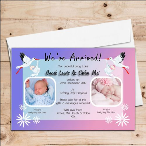 10 Personalised Stork Twins Boy Girl Birth Announcement Thank You PHOTO Cards N80